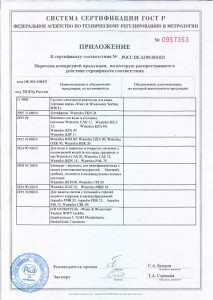 Приложение к сертификату ВВТ РУС